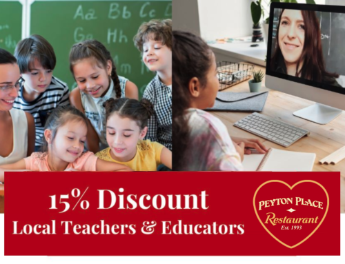 Peyton Place is offering a 15% Discount to Local Teachers & ALL School Staff!